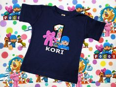 Birthday Applique Shirt Inspired by Pocoyo and Elly with Name