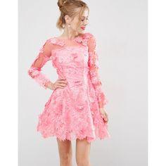 ASOS SALON 3D Floral Lace Applique Mini Skater Dress ($107) ❤ liked on Polyvore featuring dresses, pink, floral dresses, prom dresses, lace fit-and-flare dresses, party dresses and lace skater dress