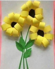 Gorgeous folded paper sunflower craft that makes a perfect summer kids craft, fun flower crafts for kids and paper crafts for kids. Spring Crafts For Kids, Paper Crafts For Kids, Summer Crafts, Easy Crafts, Art For Kids, Arts And Crafts, Summer Art, Creative Crafts, Creative Art