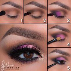 Pink Eye Shadow Look - numbered Brow-Motives Shadows  brow-Birch, crease-Native, depth-Truffle, outer corner of eye-Raven, eye-Ecstasy