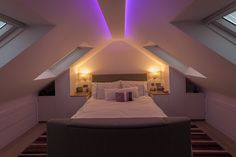 cost of attic renovation # renovationhome ceilings ceilings # attic bathroom conversion of barn Attic Loft, Loft Room, Bedroom Loft, Modern Bedroom, Loft Conversion Bedroom, Dormer Loft Conversion, Loft Conversions, Loft Conversion Lighting, Loft Conversion Cost