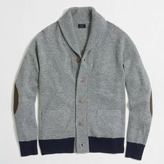 Contrast-Ribbed  Lambswool Cardigan. J Crew Factory
