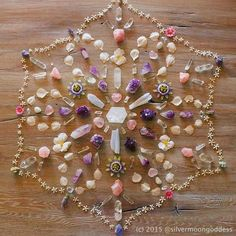 something quite powerful about being present in the moment and creating a stunning mandala such as this one. I love that Silver Moon Goddess used a variety of Mother Nature media incl… Crystals Minerals, Rocks And Minerals, Crystals And Gemstones, Stones And Crystals, Chakra Crystals, Crystal Magic, Crystal Grid, Crystal Healing, Amethyst Crystal