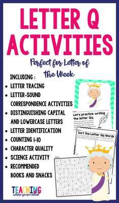 Help your students learn the letter Q with this activity packet. It's perfect for letter of the week activities for toddlers, preschool, and kindergarten. These printables will help develop skills in phonics, writing, math, and science. It also includes a character trait. This fun prek packet is perfect for learning the letters of alphabet. Use it as morning work, centers, group work, and independent practice.