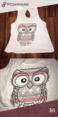 Owl Tank White tank top with tribal style owl print | Only used once Tops Tank Tops
