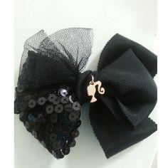 Hair clip with Black ribbon, mesh ribbon and sequins ribbon.