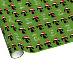 Santa Dachshunds Christmas Pattern with Text Gift Wrap Paper