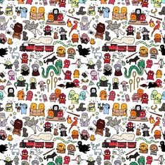 Children's Spaces | Patterns for Babies | Art Print | Illustration | Poster | Decoração Infantil | Padronagem para Bebês | Wallpaper | Ilustração para Impressão  #Harry #Potter #Kids Harry Potter #Doodle fabric by kirakiradoodles on Spoonflower - custom fabric