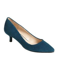 Nine West 'Runit' Kitten Heel Pump    Add a little rock and roll to your skirt suit simply by slipping on a pair of blue (okay, blue-green) suede shoes. Also in black.    To buy: $79, nordstrom.com.
