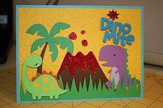 Create a critter dinosaur scene card