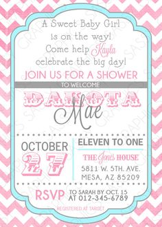 Girls Baby Shower Invitation  Chevron Pink Blue by Sassygfx, $13.00