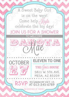 Girls Baby Shower Invitation  Chevron Pink Blue by Sassygfx, $13.00