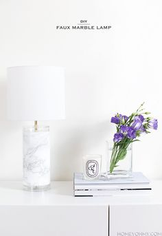 DIY Faux Marble Lamp - Homey Oh My!