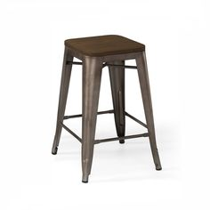 "Dreux Stackable Rustic Matte   Elm Wood Seat 26"" Steel Counter Stool (Set of 4)"