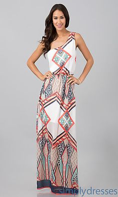 One Shoulder Floor Length Print Dress at SimplyDresses.com