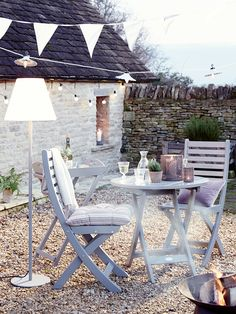 Get the rustic country look with this neat set with the addition of a fantastic outdoor lamp Provence Garden Set Outdoor Rooms, Outdoor Dining, Outdoor Gardens, Outdoor Decor, Grey Garden Furniture, Outdoor Furniture Sets, Porches, Provence Garden, Round Table And Chairs