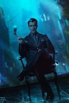 Andrew Ryan by Helena Nikulina : Bioshock Bioshock Rapture, Bioshock Infinite, Character Concept, Character Art, Character Design, Bioshock Artwork, Bioshock Game, Bioshock Series, Cyberpunk Character