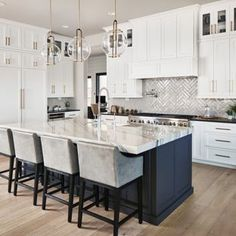 39 Adorable White Kitchen Design Ideas Are you looking forward to give a vintage. 39 Adorable White Kitchen Design Ideas Are you looking forward to give a vintage look to your kitchen? Home Decor Kitchen, Interior Design Kitchen, Diy Kitchen, Home Kitchens, Kitchen Dining, Kitchen Black, Blue Kitchen Island, White Marble Kitchen, House Kitchen Design