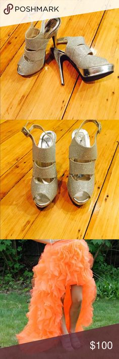 Silver Pumps 4.5/5 inch high heel shoes. Worn only once & in great condition. Very comfortable with an adjustable strap on the side. Shoes Heels