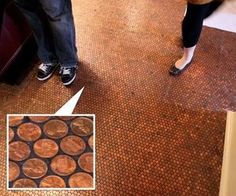 LOL nice #floor craft, idea, floors, pennies, penni floor, hous, design, penni tile, kitchen tabl