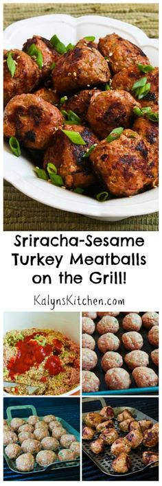 When it's too hot to turn on the stove, make these Sriracha-Sesame Turkey Meatballs on the Grill! I used a grill pan, but you can also use double skewers to hold the meatballs while you cook them. #Grilling #Sriracha #CanBeLowCarb #CanBeGlutenFree [from KalynsKitchen.com]
