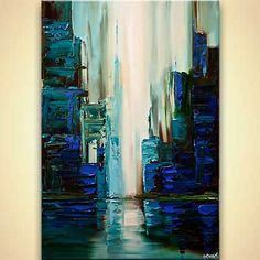 Canvas Art - Stretched, Embellished & Ready-to-Hang Print - Cyber City - Art by Osnat City Painting, Acrylic Painting Canvas, Canvas Art, Acrylic Art, Painting Art, Art Sur Toile, Waterfall Paintings, Abstract City, Cityscape Art