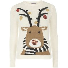 Dorothy Perkins Petite oatmeal rudolph jumper ($35) ❤ liked on Polyvore featuring tops, sweaters, beige, petite, petite tops, white jumper, petite sweaters, dorothy perkins and petite jumpers