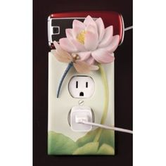 Dragonfly & Waterlily Outlet Plate & Cell Phone Holder By Ibis & Orchid Design Collection Clay Art Projects, Polymer Clay Projects, Projects To Try, Switch Plate Covers, Switch Plates, Light Switch Covers, Crochet Shrug Pattern, Crochet Patterns, Crochet Phone Cases