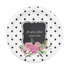 Polka Dots and Peonies Wedding Paper Plate  sc 1 st  Pinterest & Disco Ball Princess Coach \u0026 Horses Wedding Paper Plate | Teal ...