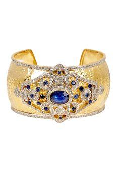 Gold Vermeil Blue Sapphire & Diamond Cuff   HauteLook