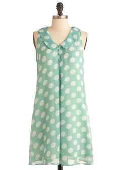 Katie's Pencil Box Dress in Mint - Mid-length, Green, White, Polka Dots, Buttons, Peter Pan Collar, Casual, Tent / Trapeze, Sleeveless, Spring