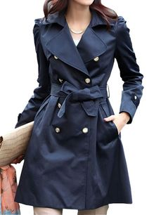 Amazing Turn-Down Collar Full Sleeve Double Breasted Waistband Women Casual Trench Coat