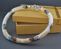 Necklace  flowers wedding beads crochet beadwork by BeadsAmi, $58.00