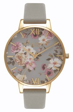 Olivia Burton Flower Show Leather Strap Watch, 38mm available at #Nordstrom