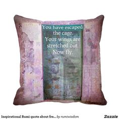 Inspirational Rumi quote about freedom Throw Pillows