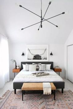 47 Inspiring Modern Scandinavian Bedroom Design And Decoration Ideas - GreatHomee Romantic Bedroom Decor, Trendy Bedroom, Home Decor Bedroom, Girls Bedroom, Bedroom Ideas, Diy Bedroom, Bedroom Inspiration, Tiny Master Bedroom, Bedroom Furniture