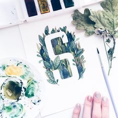 """""""S for @snoorge  #vscoartist #vscocam #vsco #gm #watercolor #aquarelle #font #typespire #typography #type #artist #artwork #floral_perfection…"""""""