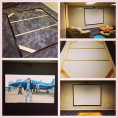 """DIY Home Theater Screen.  We bought the material from """"Carl's Place"""" on amazon! Turned out perfect! Great picture quality!"""