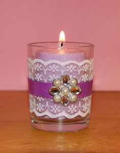 Wedding Votive Candle Holder / Shabby Chic by CarolesWeddingWhimsy, set of 6, Purple and White Lace Wedding Votive Candle Holder with a Rhinestone and Pearl Brooch - You can find it here https://www.etsy.com/listing/177653711/wedding-votive-candle-holder-shabby-chic