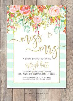 Bridal Shower Invitation, Bridal Shower Invite, Floral Bridal Shower Invitation, Printable Bridal Shower Invitation, Bridal Shower, Bride