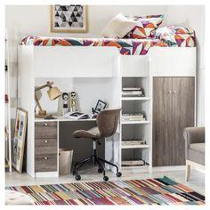 Loft Beds For Small Rooms, Loft Beds For Teens, Cool Kids Bedrooms, Awesome Bedrooms, Cool Rooms, Adult Loft Bed, Girl Bedroom Designs, Room Ideas Bedroom, Small Room Bedroom