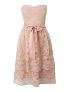 Untold Strapless lace layered dress Pink - House of Fraser