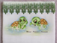 Fralda Passeio - 70 x 70 cm - Fralda Cremer Pinte & Borde / Pintura à mão. ** Tartarugas Baby **