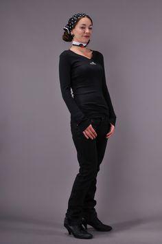 Longsleeves - 3Elfen langarm Shirt schwarz MondElfe weiß - ein Designerstück von 3Elfen bei DaWanda