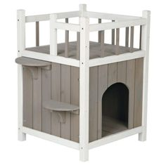 Cat House Furniture 2 Story Play Balcony Kitty Condo, Outdoor Pet Home Wood Toy #Trixie