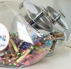 Use a cookie jar to store crayons, markers and more!
