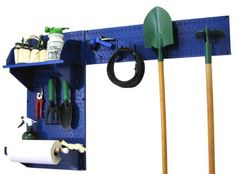 Wall Control Pegboard Garden Supplies Storage and Organization Garden Tool Organizer Kit with Blue Pegboard and Blue Accessories by Wall Control, http://www.wallcontrol.com/pegboard-garden-tool-board-organizer-kit-blue-pegboard-blue-accessories/