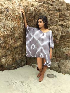 Gray, Japanese Shibori, tie dye, Zen style, African fashion, festival dress,  beach cover up,dress by GiveGrowLiveShibori on Etsy
