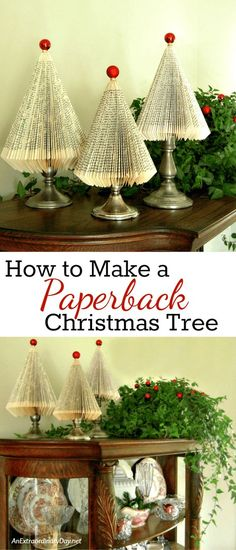 Christmas DIY: How to Make Paperbac How to Make Paperback Book Christmas Trees with this super detailed tutorial from AnExtraordinaryDa. Click through for all the details so you can make a forest for gifts or whimsical Christmas home decor. Homemade Christmas, Diy Christmas Gifts, Christmas Projects, Christmas Tree Decorations, Christmas Ornaments, Christmas Activities, Christmas Lights, Book Christmas Tree, Christmas Home