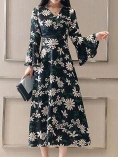 V neck A-line Women Long Sleeve Floral Elegant Dress 0f70ddb1e0
